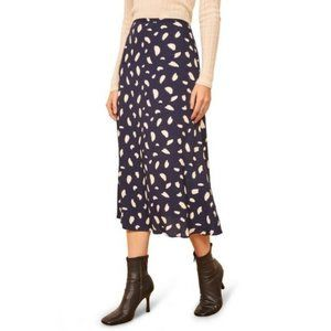 Reformation Bea Midi Skirt Splatter 12 Blue White